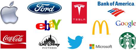 Логотипы брендов акций для инвестиций